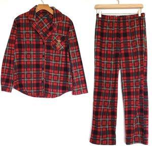 Ralph Lauren   Plaid Fleece Pajamas Set Gold Logo